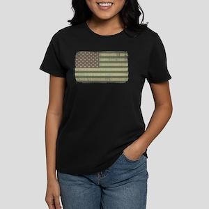 Camo American Flag [Vintage] Women's Dark T-Shirt